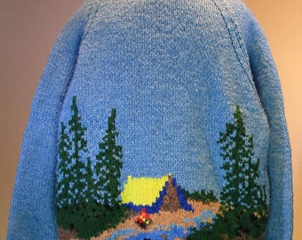 "Vintage  Heavy Knit ""Campfire Cowichan'  Mary Maxim Sweater XL"