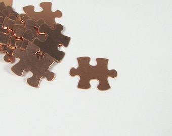 Copper Puzzle Blank,  puzzle piece, 22 gauge copper,  20mm x 16mm, 15 pack, autism stamp symbol,  for stamping, puzzle shape, for stamping,