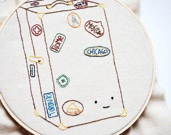 PDF Mini Embroidery Pattern - World Traveled Trunk