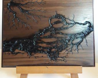 Fractal Burning Wood Art - Wood Wall Art, Lichtenberg figures,