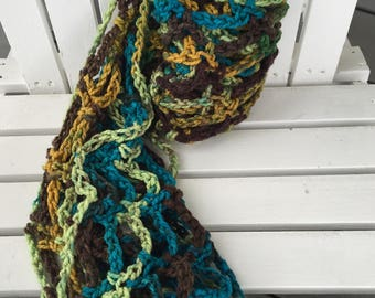 Green, Yellow, and Brown Variegated Handmade Crochet Infinity Scarf