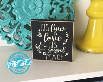 His Law is Love- Christmas Decorations - Christmas Decor - Christmas Sign - Wood Christmas Sign - Oh Holy Night Sign - Christmas Gift
