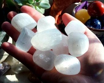 Selenite Tumble Stone - Selenite Crystal - 1 Inch Tumble Stone