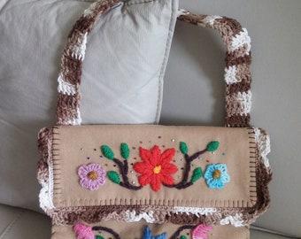 Embroydered handbag - free shipping, handmade and artistic