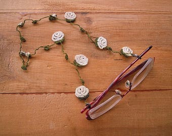 crochet eyeglass chain, cream rose