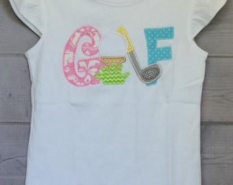 Personalized Golf Club Ball Tee Monogram Applique Shirt or Onesie Boy or Girl