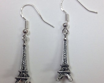 Eiffel Tower Charm Earrings - French, Tres Jolie!  Comes on sterling silver earwires