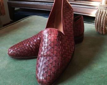 Vintage Leather Cabin Creek Slip-On Shoes/Leather Basket Weave  Loafer