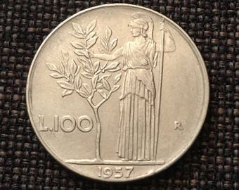 1957 Italy 100 Lire Coin