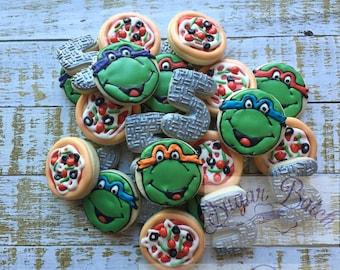 2 Dozen Ninja Turtle Birthday Decorated Cookies