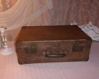 A vintage suitcase box, storage and decor shabby
