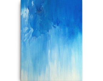 Housewarming New Home Decorating - Apartment House DIY Blue Large Canvas Print Poster Giclee Ready to Hang Modern Abstract Art Wall Hanging