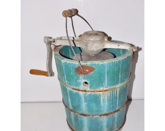 Old fashioned ice cream maker,White Mountain Freezer,4XG,wooden bucket ice cream maker,tall wood bucket,teal blue aqua,front porch decor