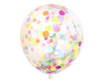 "Confetti Balloon - Rainbow - Choose 12, 16, 18, 36 inch - Large & Small - Neon Pink Orange Green Blue 1"" Circle Filled - Tissue Paper"
