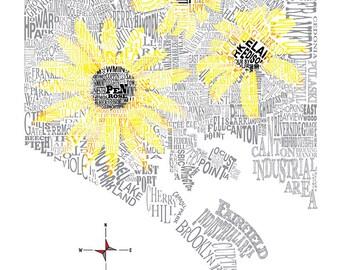 Baltimore City Black Eyed Susan Neighborhood Map 11 x 14in Print