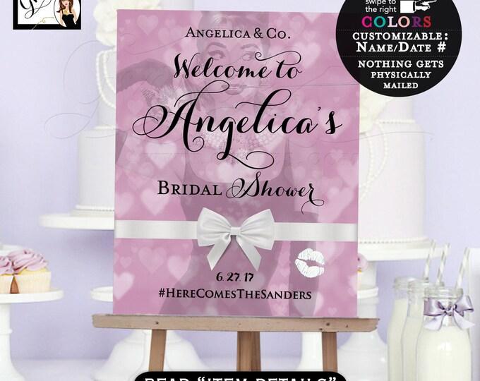 Welcome sign bridal shower, bridal shower sign, signage, Audrey Hepburn themed, breakfast at bridal poster signs, purple lavender, Gvites.