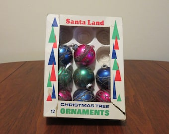 "Vintage 1960s set 8 2"" Shiny Brite Christmas tree ornaments decorations glass glitter pink blue green"