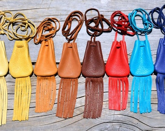 Handmade Leather Medicine Pouch with Fringe