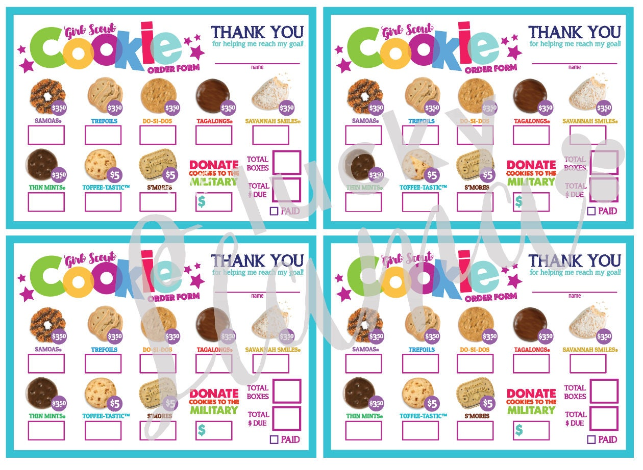 This is a photo of Nifty Printable Girl Scout Cookie Order Form