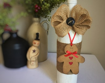 Gingerbread Decor/Gingerbread Man/Country Christmas Decor/Winter Wonderland/Rustic Christmas/White Christmas/Wine Bottle/Recycled Bottle