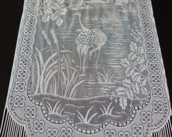 French lace door panel with heron design. Birds on a lake French door panel.