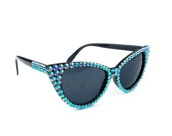 LAGOON Turquoise Cat Eye Sunglasses, Vintage Sunglasses, 50s Sunglasses, Rockabilly Eyewear, Cats Eye Glasses, Blue Sunglasses, Pastel Goth