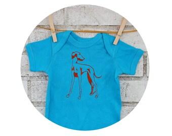Italian Greyhound Baby One piece, Turquoise Blue Dog cotton baby bodysuit,  infant creeper screen-print shirt short sleeved Unisex clothing