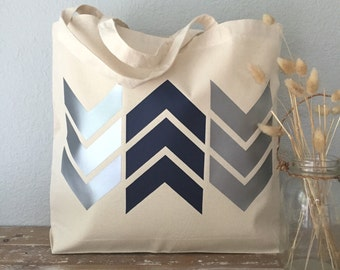 Silver & Blue Arrow Chevron Tote Bag  - beach bag, purse or bridesmaids gift