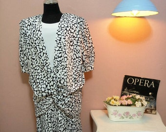 Black and White Dots Vintage Dress For Women 1960s