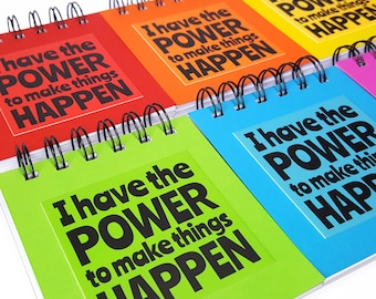 Colourful Notebook - Wire Bound Paper Notepad - Joyful Jotter Pad - Colourful Stationery - Motivational Gift
