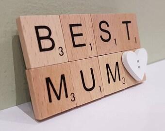 Personalised Family Scrabble Magnet, Mothers Day Gift, Fridge Magnet, Kitchen Magnet, Birthday Gift, Housewarming Gift