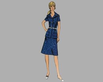 1970s Skirt/Jacket Pattern, Vogue 8018, Bust 38, A Line Skirt/Jacket, Hip length jacket, Notched collar, Short/full length sleeves COMPLETE