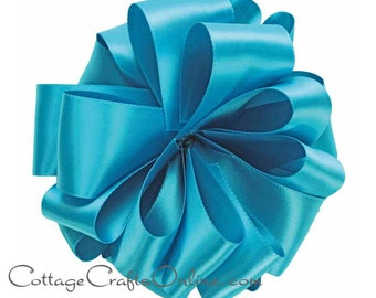 "Satin Ribbon Double Sided, 1  1/2""  Wide, Venetian Blue - FIVE YARDS -  Offray Double Face Satin, Wedding / Floral / Invitation Ribbon"