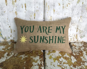 Cute and Fun You are My Sunshine Burlap Pillow Decorative Lumbar Throw Accent Pillow Custom Colors Available Teen Gift Home Decor Nursery