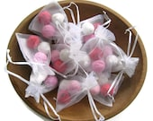 Valentine's Day Party favor - Seed bomb favor in an organza bag - Plantable paper - Flower seed paper balls packed with flower seeds