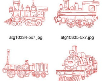 Old-Locomotive-Redwork-5x7 ( 7 Machine Embroidery Designs from ATW ) XYZ17D