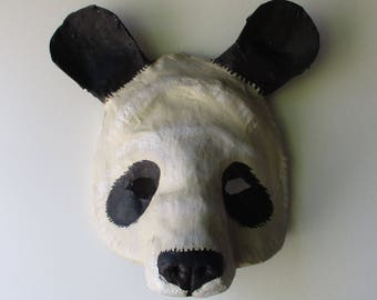 Panda Bear Mask, paper mache, wearable, black and white animal mask