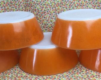 Set of 5 Orange Federal bowls