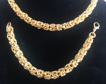 Gold Byzantine Style Necklace and Bracelet