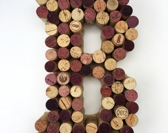 Wine Cork Letter B made from real wine corks! Cork letters Monogram Letter B wedding gift, anniversary gift, housewarming gift. Initial B