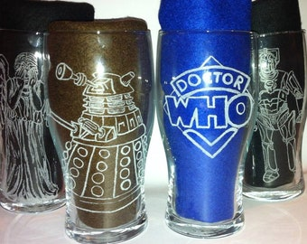 Dr Who Inspired Hand Engraved Set of 4 Pint Glasses