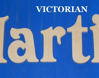 """Wooden Wall Letters - 10"""" Size - Unpainted - Victorian plus Various other Fonts - Gifts and Decor for Nursery - Home - Playrooms - Dorms"""