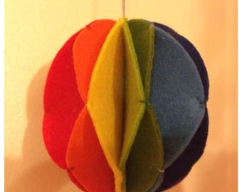 Rainbow felt bauble (3d) and rainbow christmas decoration (2d)