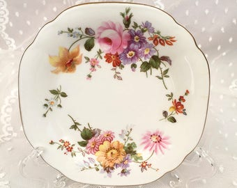 Royal Crown Derby Posies Dish, Butter Pat or Small Trinket Tray. Vintage England