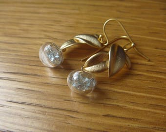 small diamonds and Orchid Earrings: bubble glass