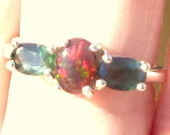 Black Welo Opal Ring, Ethiopian Opal Ring, Ornate Sterling Silver Ring, Green Sapphire Accents, Natural Gemstones, OOAK
