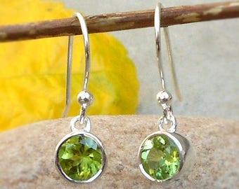 925 Peridot Earrings, Peridot Jewelery, August Birthstone, Peridot Dangle Earings, Sterling Silver, Green Peridot Earrings, Gift for her