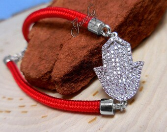 Pavé CZ .925 Silver Hamsa Red String Bracelet
