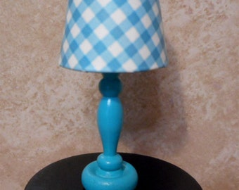 Barbie Turquoise Checkered Lamp