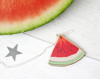 Watermelon Necklace - Wooden Laser Cut Jewellery - Mexican Fruit Necklace - Juicy Melon Pendant Necklace - Tropical Jewellery Gifts for Her